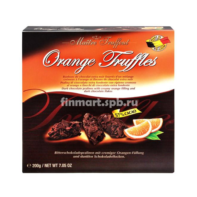 Шоколадные трюфели с апельсиновой начинкой Maitre Truffout - 200 гр.
